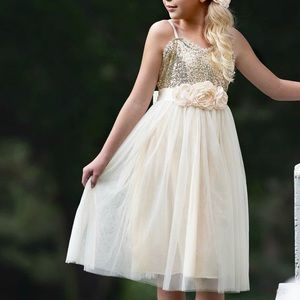 Other - girls gold sequin tule dress